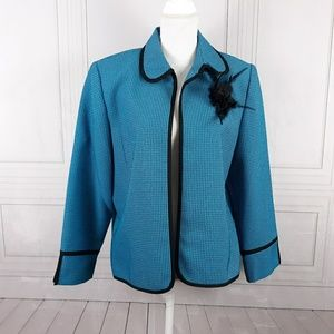 Koret Dress Open Front Blazer w/Feather Brooch 16